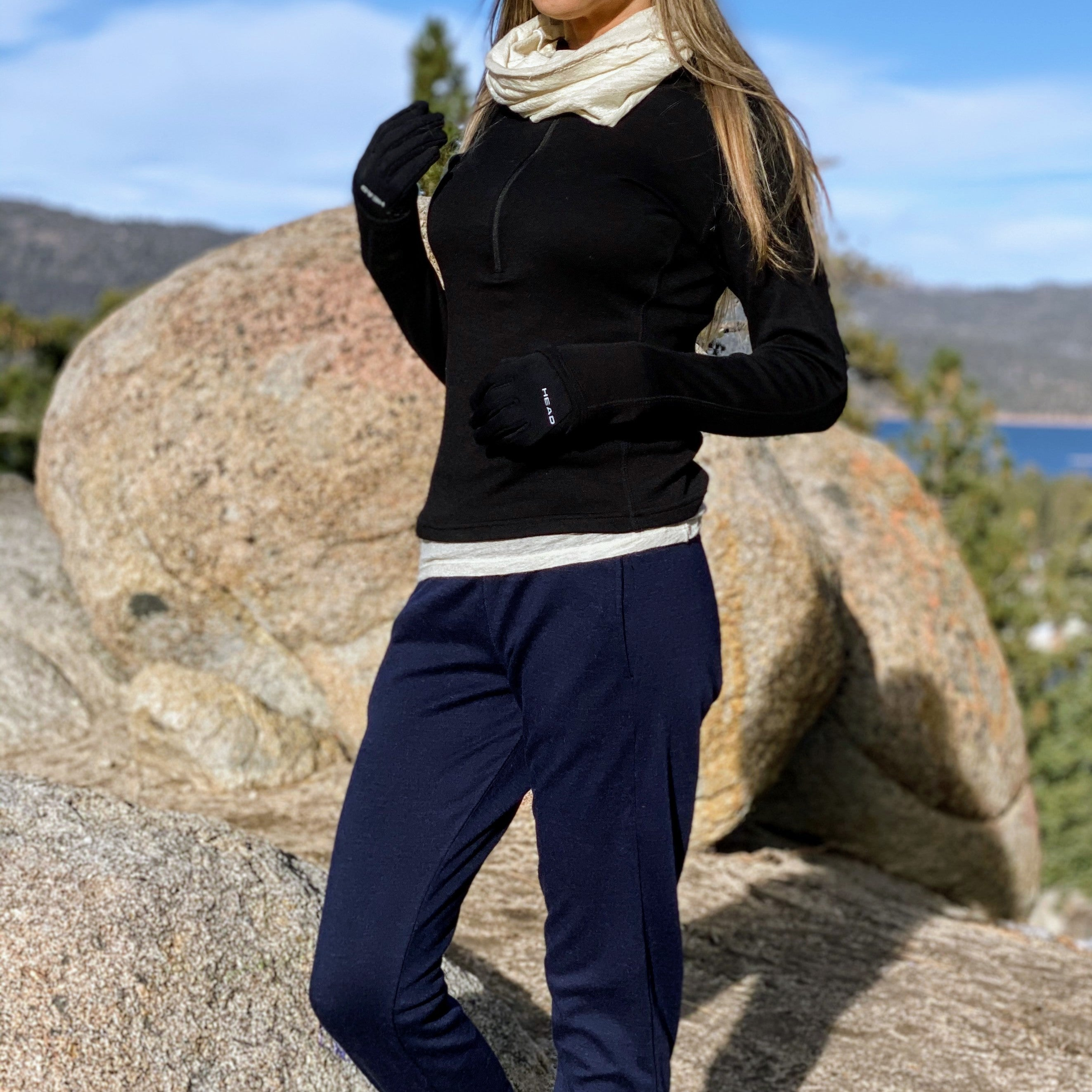 woman in big bear wearing alpaca base layer and alpaca joggers