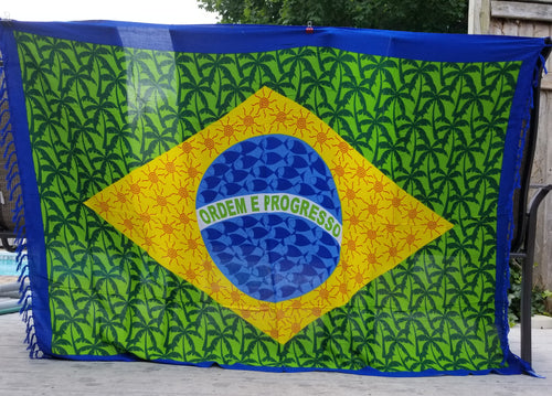 Brazilian Flag and Trees