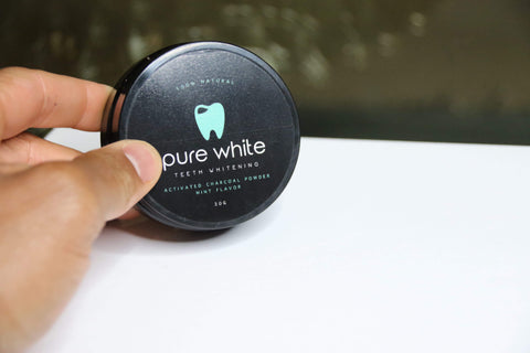 Pure White Teeth 100% Activated Charcoal Powder- Mint Flavored