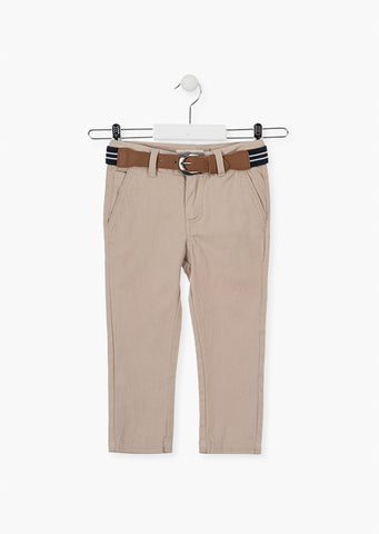 Losan Boys Satin Trousers with a belt Beige