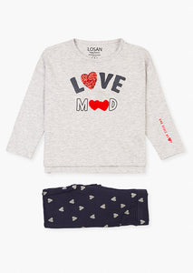 Losan Girls Print front tee & leggings set