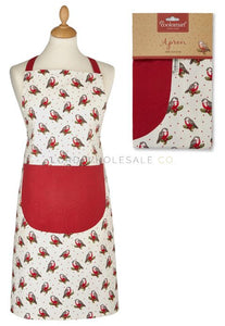 Cooksmart Red Red Robin Christmas Apron 100% Cotton