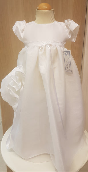 girls white christening  gown  long length