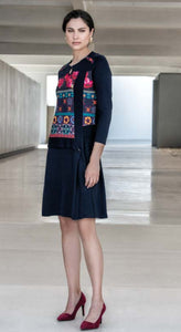 Ladies Tunic Dress Navy  Print  Kalisson  KA19I076