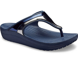 Women's Crocs flip flops Sloane MetalBlock Wedge Flip Metallic Navy/Navy