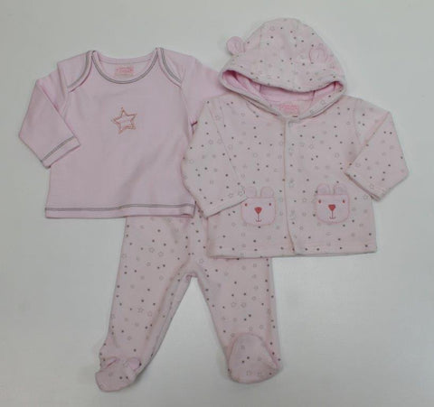 Just Too Cute Three Piece Velour Set Pink 40JTC8386