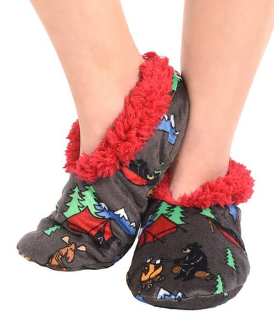Lazy One Adult Fuzzy Feet  Slippers Happy Camper