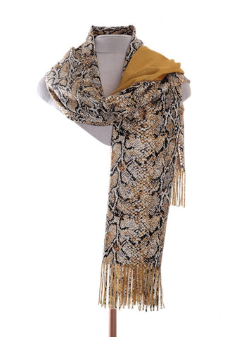 Ladies Zelly Reversible Snake Pashmina Mustard