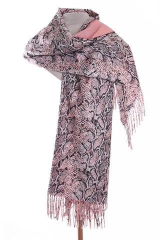 Zelly Ladies Reversible Snake Pashmina Pink