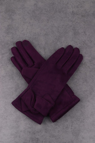 Zelly Tied Faux Suede Gloves Aubergine