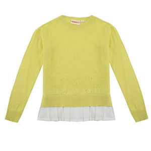 UBS2 Girl's sweater with sparkles and pleated hem H205102
