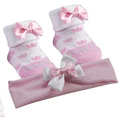 BabyTown Baby Girls Pink Novelty Print Socks & Headband Set