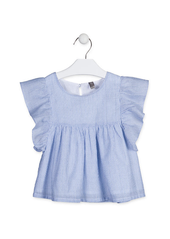 Losan girls Blue blouse with frilled sleeves.
