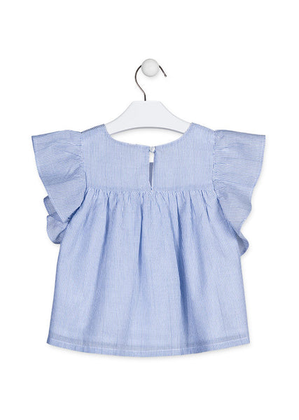 Losan Blue blouse with frilled sleeves.  916-3003AA