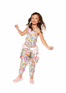 Losan Girls Flower and butterfly print full-length overall ss19