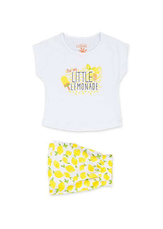 Losan Girls Lemon motif shorts & tee set. ss19