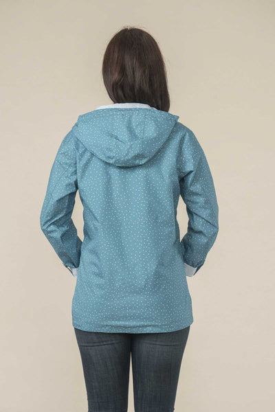 Ladies  Waterproof  Jacket  style Anya Blue Sail Dot by Lighthouse