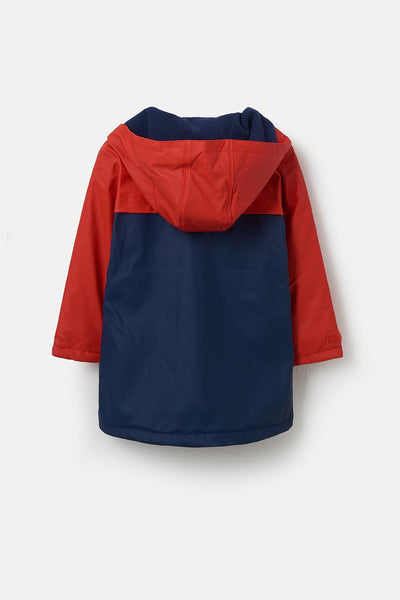 Adam Boys Coat - Red Navy Solid