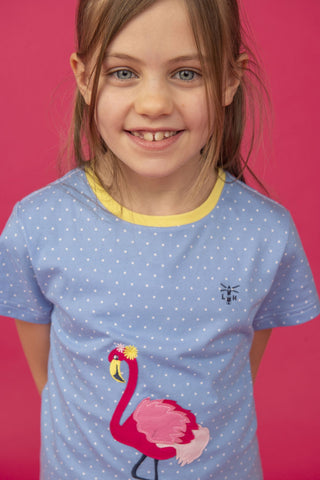 Causeway Girls Short Sleeve T-shirt Flamingo Appliqué