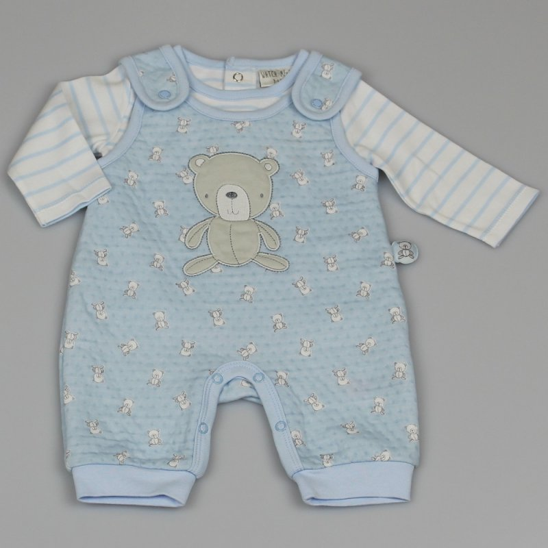 M1402: BABY BOYS ALL OVER PRINT QUILTED DUNGAREE & TOP OUTFIT (0-9 MONTHS)