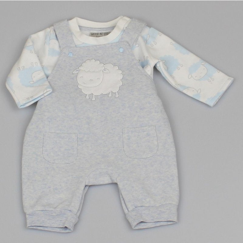 BABY BOYS SHEEP MELANGE FLEECE DUNGAREE & TOP OUTFIT M1412
