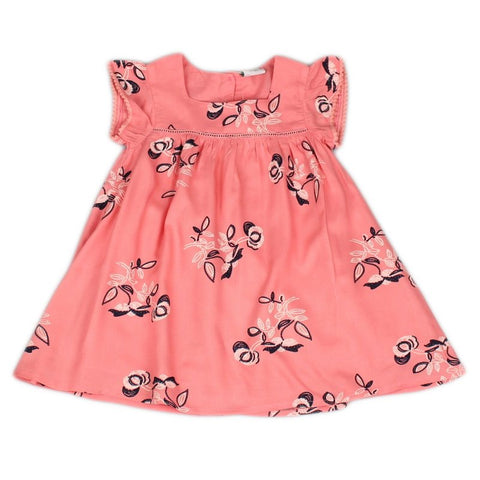 INFANT GIRLS ALL OVER PRINT COTTON LINED DRESS J3653