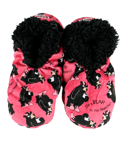 Lazy One Bear in the Mornings Adult Fuzzy Feet Slippers