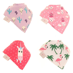 Bandana dribble bibs 4 pack Lovable Characters By Stripey Cats  by Ziggle