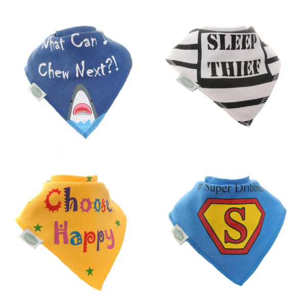 Bandana dribble bibs 4 pack Comedy Captions Bib Set  by Ziggle