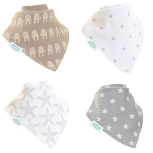 Ziggle Bandana dribble bibs 4 pack Grey and White Bib Set