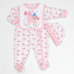 Baby Girl's Unicorn 3 Pc Babygrow set