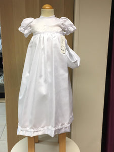 Unisex  christening  gown   long  white with  Celtic cross