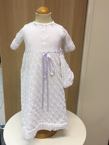 Long Mattan unisex white  Christening gown