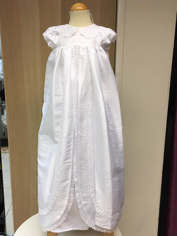 Unisex  long  christening   gown  optic white  Style Ariana