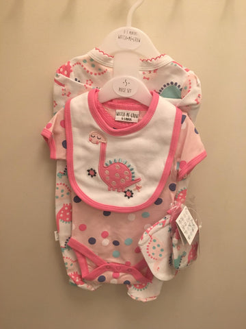 Pink Dinosaur Girl's 5pc Layette Set Watch Me Grow