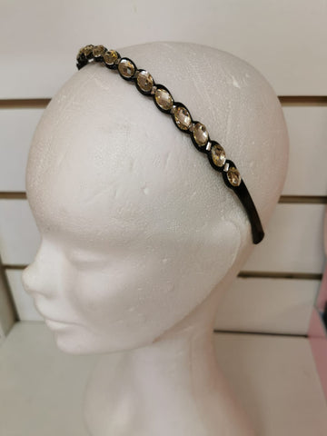 Black Hairband with Diamonte