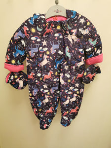 Baby Girls All Over Print Unicorn Snowsuit