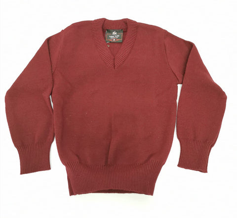 wine plain v neck school jumper