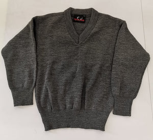 grey plain v neck school  jumper