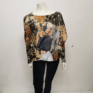 Ladies Slouch Knit Print Jumper