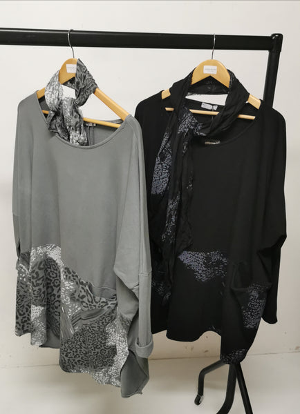 Made In Italy Ladies  One Size Tunic Top with Scarf