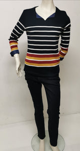 Kalisson Ladies V Neck Breton Stripe Top KA20i057