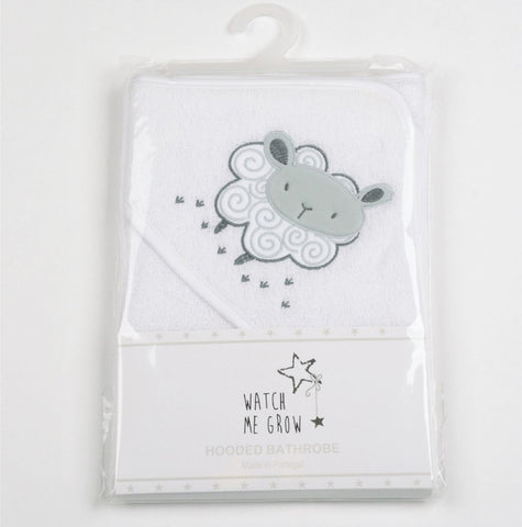 Watch Me Grow BABY WHITE SHEEP HOODED TOWEL