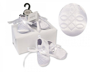Baby Boys Christening Shoes with Embroidery Stitch  NT-116-818