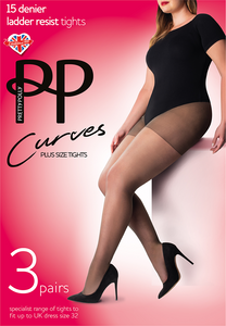 Pretty Polly Curves 15 Denier ladder resist tights.