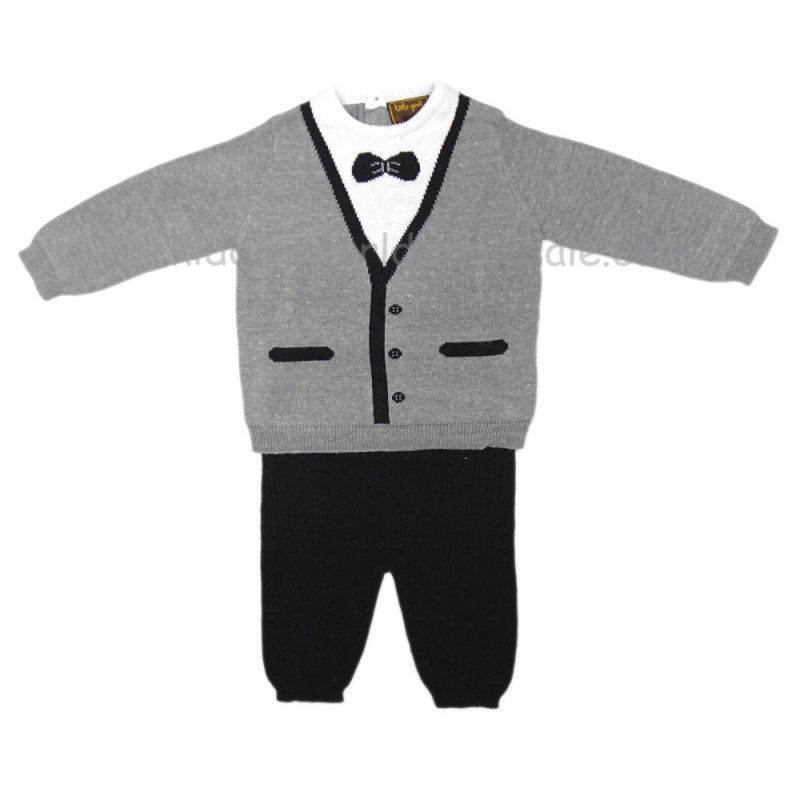 BABY BOYS TUXEDO STYLE KNITTED 2 PIECE SET Q17430