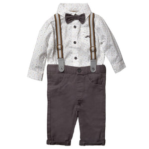 LITTLE GENT BABY BOYS BODYSUIT SHIRT WITH BOW TIE & CHINO PANT WITH BRACES OUTFIT S18907