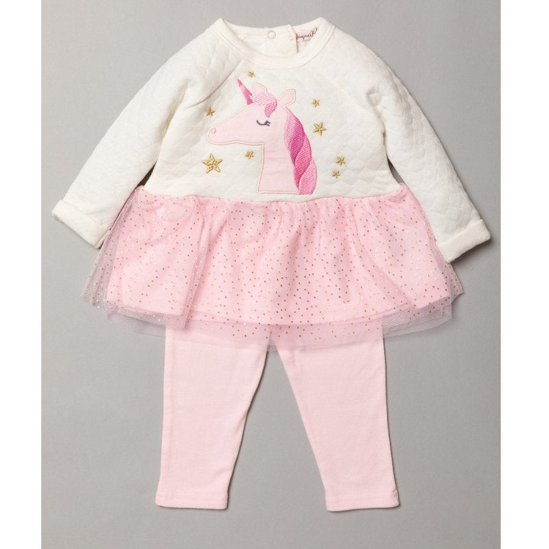 BABY GIRLS UNICORN APPLIQUE QUILTED DRESS WITH GLITTER PRINT SKIRT & LEGGING OUTFIT