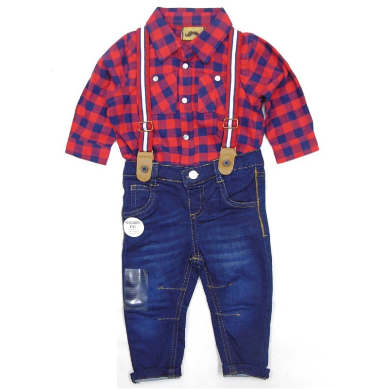BABY BOYS CHECK SHIRT & DENIM JEAN WITH BRACES OUTFIT