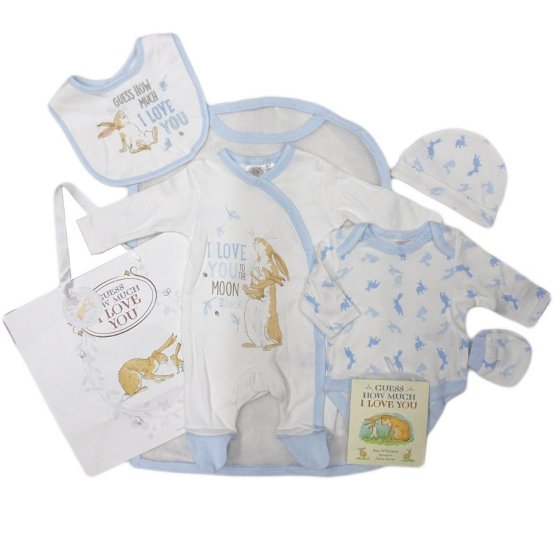 BABY BOYS GUESS HOW MUCH I LOVE YOU 7 PIECE MESH BAG GIFT SET WITH BOOK